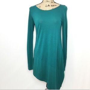 Eileen Fisher Teal Knit Asymmetric Long Sleeve Top